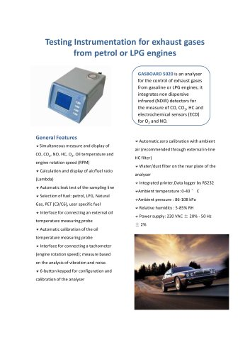 Portable Infrared Biogas Analyzer Gasboard 3200L