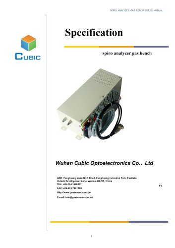 Specification of Micro-flow multigas analyzer CO and CH4 3000ppm