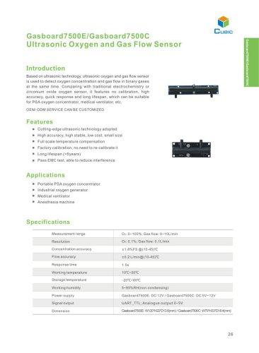 Ultrasonic Gas Flow and Oxygen Sensor Gasboard7500E/C