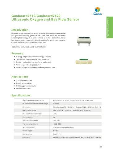 Ultrasonic Gas Flow and Oxygen Sensor Gasboard7510/7510