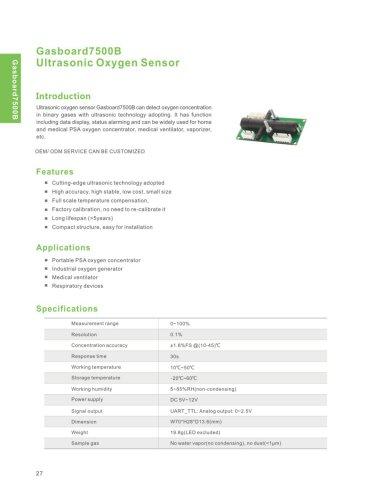 Ultrasonic Oxygen Sensor Gasboard7500B