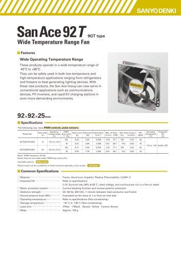Wide Temperature Range FanCatalog SanAce92T