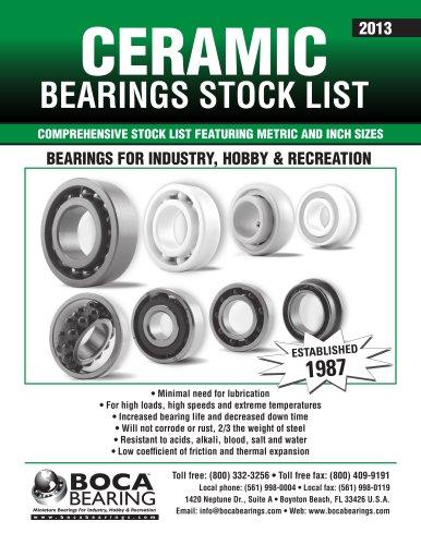 Ceramic Bearings Stocklist