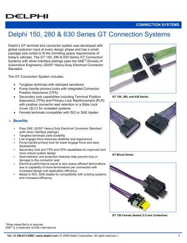 Delphi 150, 280 & 630 Series GT Connection Systems