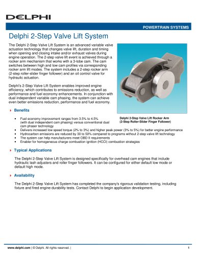 Delphi 2-Step Valve Lift System - Delphi Power Train - PDF Catalogs
