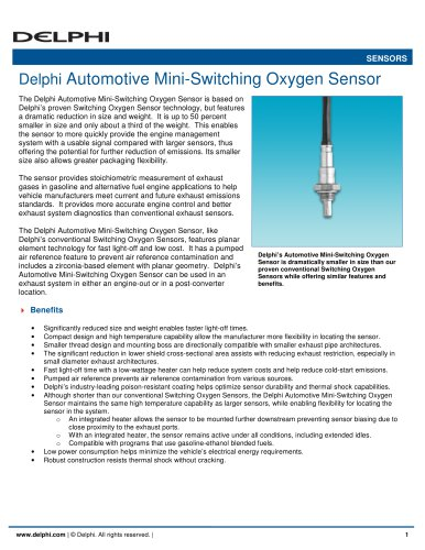 Delphi Automotive Mini-Switching Oxygen Sensor