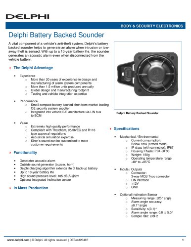 Delphi Battery Backed Sounder