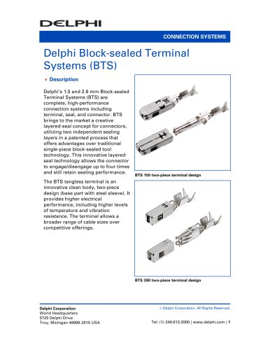 Delphi Block-sealed Terminal Systems (BTS)