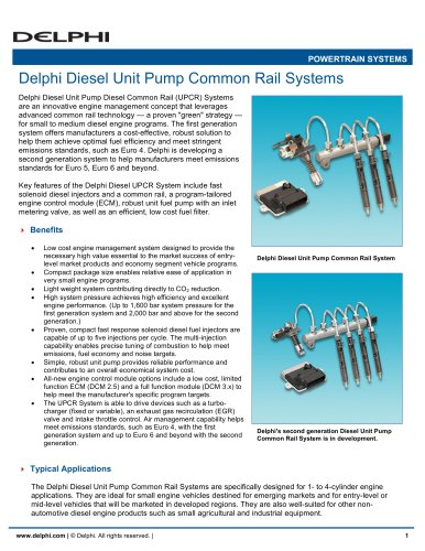 Delphi Diesel Unit Pump Common Rail Systems