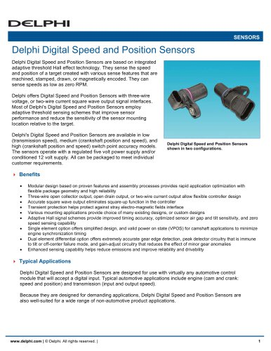 Delphi Digital Speed and Position Sensors
