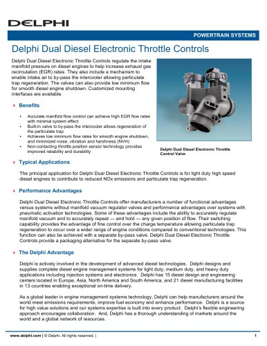 Delphi Dual Diesel Electronic Throttle Controls