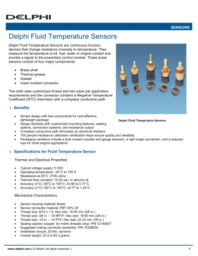 Delphi Fluid Temperature Sensors