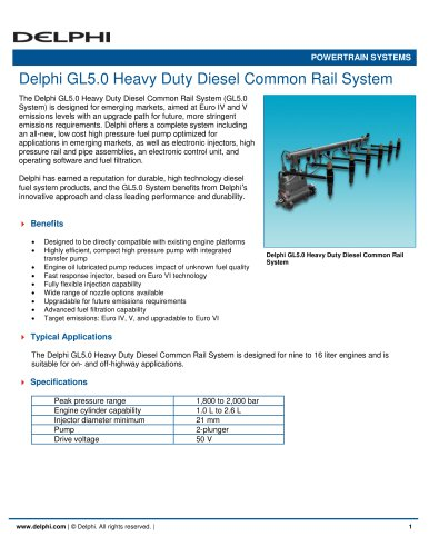 Delphi GL5.0 Heavy Duty Diesel Common Rail System