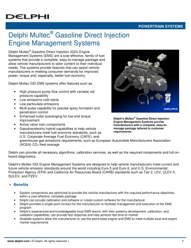 Delphi Multec® Gasoline Direct Injection Engine Management Systems