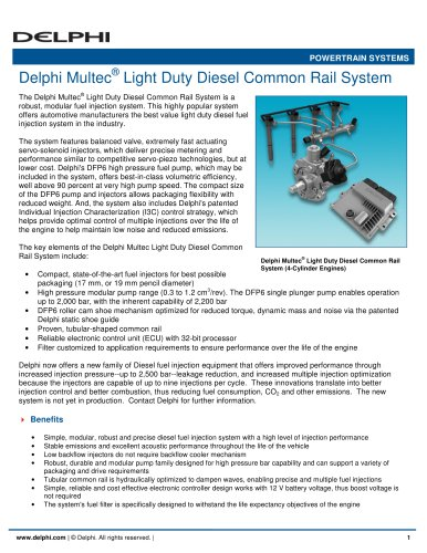 Delphi Multec Light Duty Diesel Common Rail System