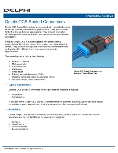 Delphi OCS Sealed Connectors