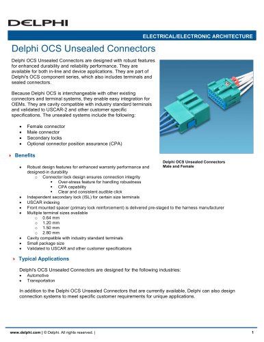 Delphi OCS Unsealed Connectors