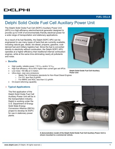 Delphi Solid Oxide Fuel Cell Auxiliary Power Unit