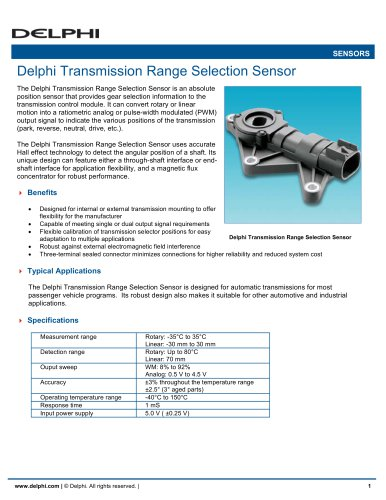Delphi Transmission Range Selection Sensor