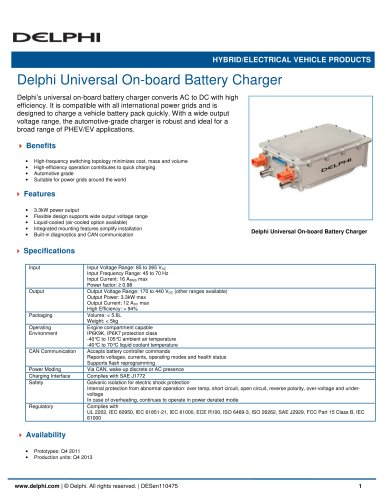 Delphi Universal On-board Battery Charger