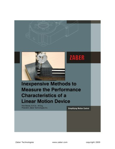 Inexpensive Ways to Measure the Performance Characteristics of a Linear Motion Device