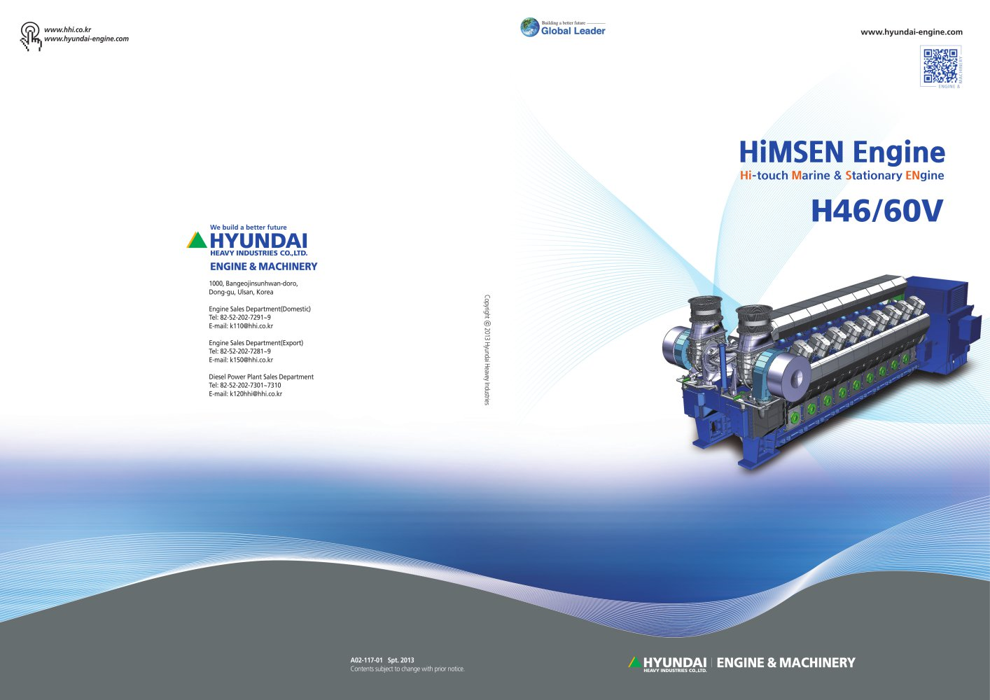 H46 60v Hyundai Heavy Industries Marine Engine Pdf Catalogue Diesel Power Plant Diagram 1 6 Pages