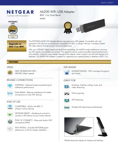 A6200 WiFi USB Adapter - 802.11ac Dual Band