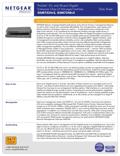 ProSafe® 24- and 48-port Gigabit Enterprise Class L2 Managed Switches GSM7224v2, GSM7248v2