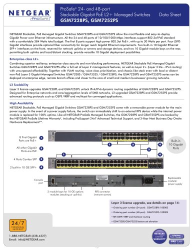 ProSafe® 24- and 48-port Stackable Gigabit PoE L2+ Managed Switches GSM7228PS, GSM7252PS