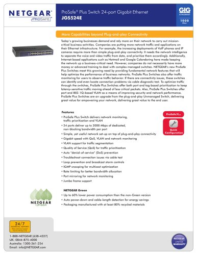 ProSafe® Plus Switch 24-port Gigabit Ethernet JGS524E