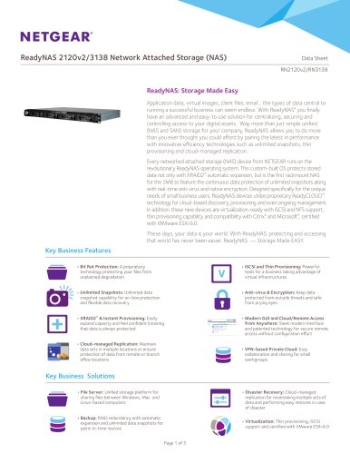 ReadyNAS 2120v2/3138 Network Attached Storage (NAS)