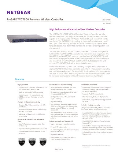 WC7600 ProSAFE® Premium Wireless Controller
