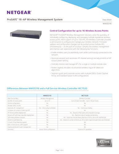 WMS5316 ProSAFE® Wireless Management System