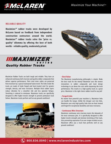 Maximizer Rubber Tracks Brochure