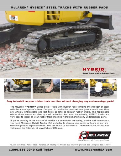 McLaren Steel Tracks with Bolt-On Rubber Pads for Mini Excavators