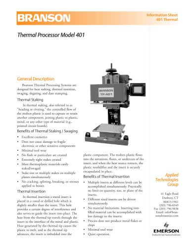 Branson Thermal Processing System Model 401