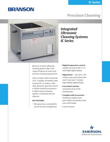 Integrated Ultrasonic Cleaning Systems IC Series