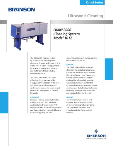 OMNI 2000 Cleaning System - model 1012