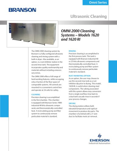 OMNI 2000 Cleaning System, Model 1620