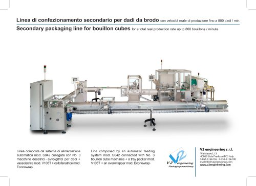 Secondary packaging line for bouillon cubes