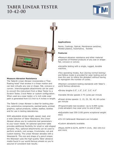 10-42 Taber Linear Abrasion Tester