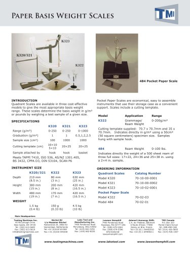 70-02 Paper Basis Weight Scales