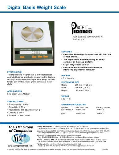70-60 Digital Basis Weight Scale