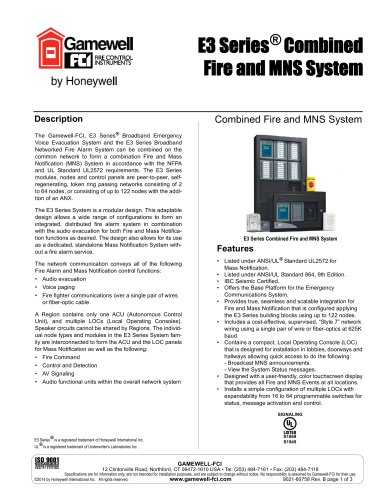 E3 Series ®  Combined Fire and MNS System