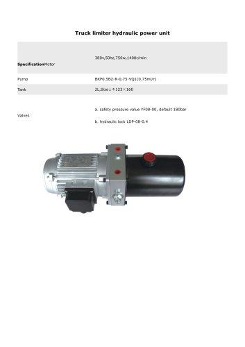 Hangzhou Chinabase Machinery Truck limiter hydraulic power unit