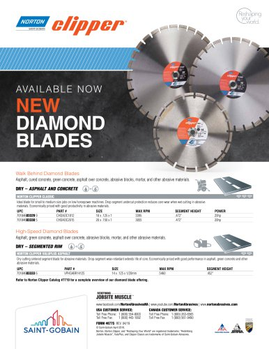 AVAILABLE NOW NEW DIAMOND BLADES