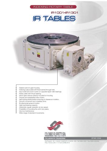 Colombo Filippetti - Indexing Rotary Tables - IR Heavy Series 1001-1301
