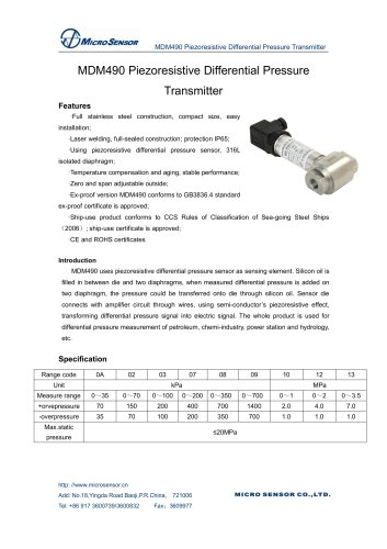 Accurate Differential Pressure Transmitter MDM490