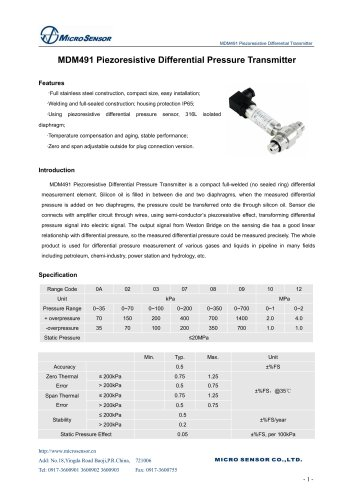 MDM491 differential pressure transmitter