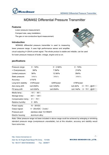 MDM492 Differential Pressure Transmitter